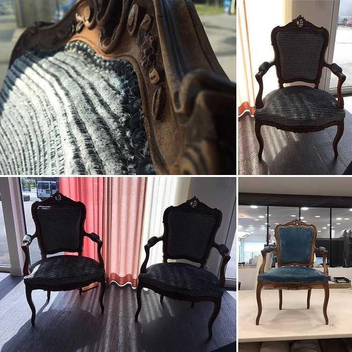 Modernisation de deux fauteuils cabriolets par votre artisan tapissier (22) 0